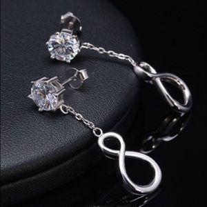 Infinity Shape Sterling Silver Earrings AAA CZ